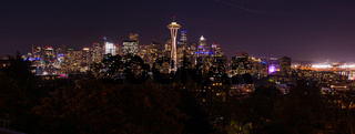 Panoramic night view of the Seattle skyline with the Space Needle and other iconic buildings in the background.
