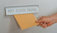 A letterbox with the inscription No junk mail