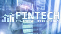 FINTECH - Financial technology, global business and information Internet communication technology. Skyscrapers background. Hi-tech business concept.