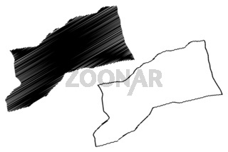 Sabha District (Districts of Libya, State of Libya, Fezzan) map vector illustration, scribble sketch Sabha map