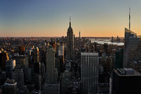 View of Empire State Building in New York City at sunset