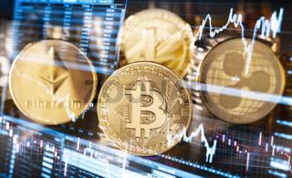 Schwankende Kurse von Kryptowährungen