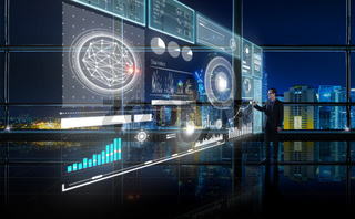 Smart financial analytics working at modern office with big data