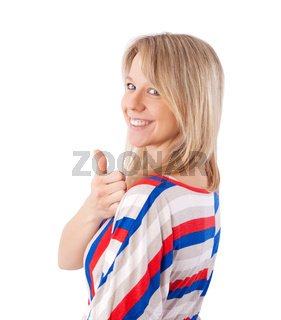 woman showing thumb up
