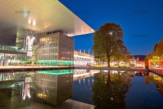 Town of Luzern modern architecture evening view