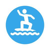 surf boarder pictogram round