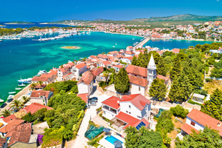 Adriatic town of Rogoznica aerial coastline view