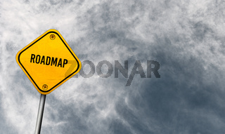 Roadmap - yellow sign with cloudy sky