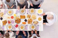 top view of modern muslim family having a Ramadan feast
