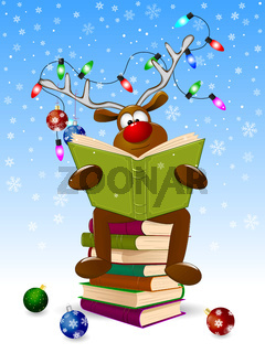 Reindeer reading a books for Christmas