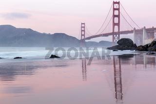 Golden Gate Bridge reflections at Marshall's Beach