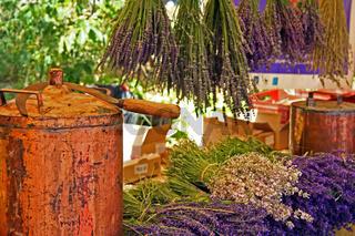 Lavendel-Markt, Ferrassières, Provence, Frankreich