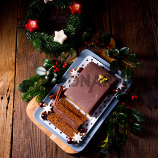 Tasty Chocolate gingerbread with plum jam filling