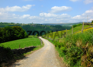 long curved cobbled stone stone road running downhill in beautiful yorkshire dales countryside with green summer meadows with woodland valley in the distance and blue sky with clouds