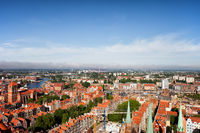 Aerial View Over City Of Gdansk In Poland