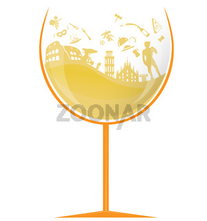 glass of italian white wine with symbol element