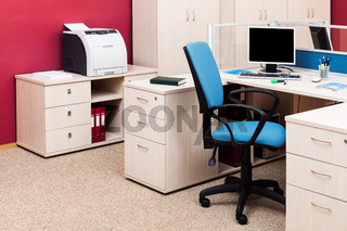 computers and printer in a office