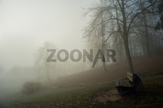 Park bench with fog near the german lake called Edersee