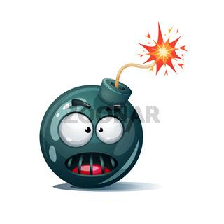 Cartoon bomb, fuse, wick, spark icon. Horror smiley.