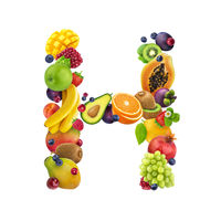 Letter - H made of different fruits and berries, fruit alphabet isolated on white background
