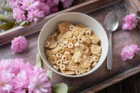 Breakfast cereals in a bowl on a tray, top view