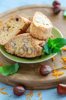 Italian biscuits biscotti with nuts and orange zest.