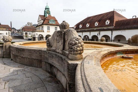 Fountain in the Art Nouveau spa complex Sprudelhof, Bad Nauheim