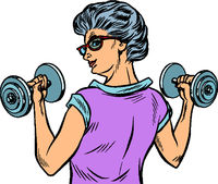 fitness dumbbells sport activity Woman grandmother pensioner elderly lady