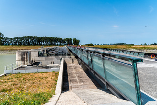 The barrage for the control of tides in Mont Saint Michel