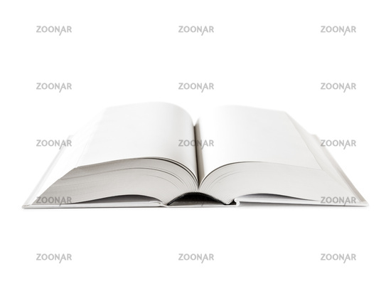 Open blank dictionary, book isolated on white