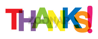 Colorful banner that says THANKS! Lettering for decoration and design