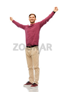 happy young man celebrating success