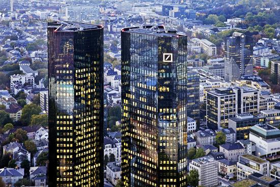 buildings of Deutsche Bank in the evening, Frankfurt am Main, Hesse, Germany, Europe