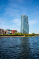 The European Central Bank and the Main River in Frankfurt