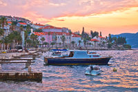 Korcula coastline colorful sunset view
