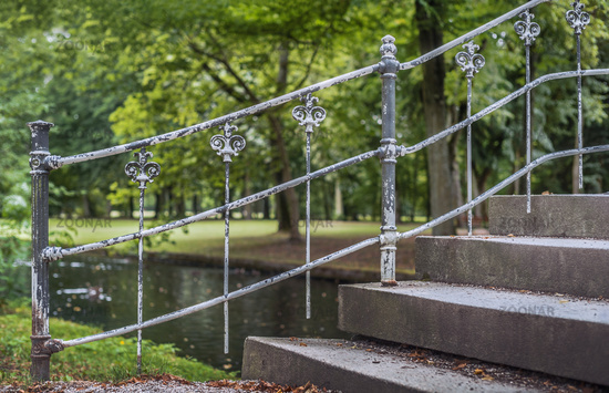 The railing in the park