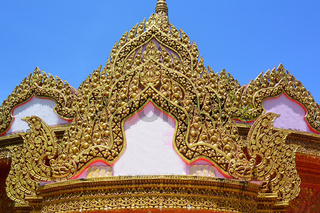 Magnificent stucco decoration of a temple building
