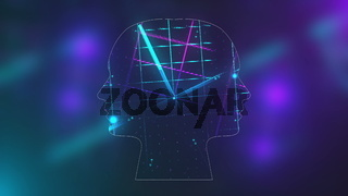 Futuristic energy heads with neon grid effect with lighting, abstract 3d rendering background