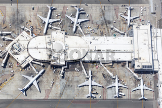 United Airlines airplanes Los Angeles airport aerial view