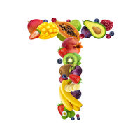 Letter T made of different fruits and berries, fruit alphabet isolated on white background