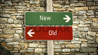 Street Sign to New versus Old