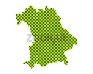 Karte von Bayern in Schachbrettmuster - Map of Bavaria in checkerboard pattern