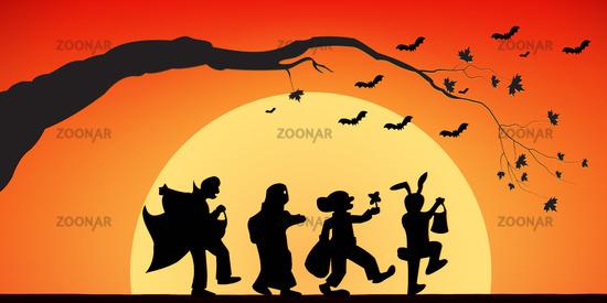 Mystical figures and bats on a Halloween evening