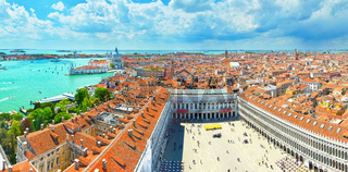 Panoramic top view of Venice in spring