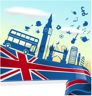 UK LONDON  element on flag with sky background