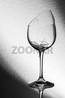 Broken wine glass spotlight background