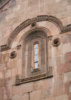 Fragment facade of Church of St. Saba with carved decoration in Sapara Monastery