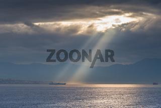 God Rays shining on ship