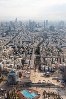 Tel Aviv skyline Israel aerial view city portrait format skyscrapers