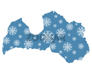 Karte von Lettland mit Schneeflocken - Map of Latvia with snowflakes